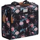 NEWLOOXS Lilly Ella kerékpár táska csomagtartóra, 18L, virágos, fekete